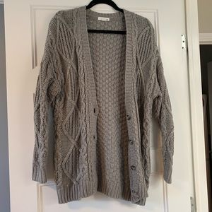Garage Sweaters - Grey Cable Knit Cardigan